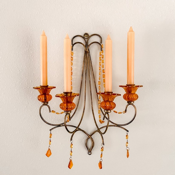 Vintage Amber Cystals Wall Candle Holder